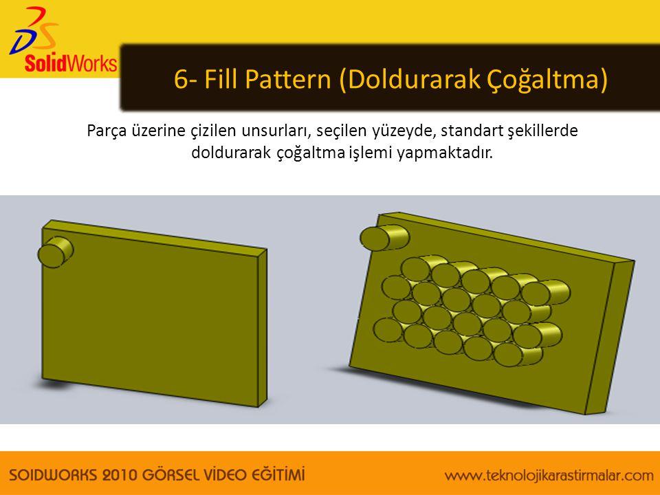 6- Fill Pattern (Doldurarak Çoğaltma) Parça üzerine çizilen unsurları, seçilen yüzeyde, standart şekillerde doldurarak çoğaltma işlemi yapmaktadır.