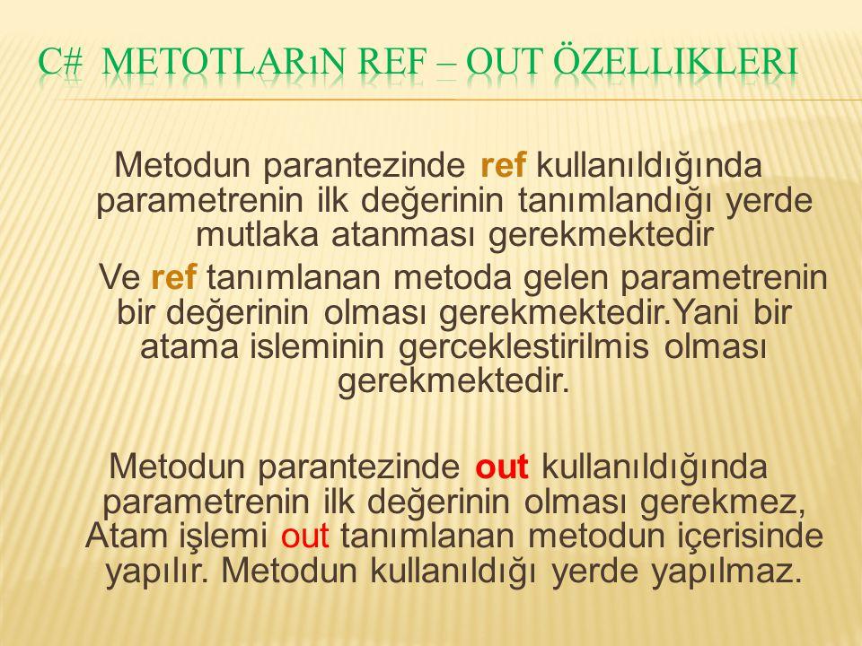 Metodun parantezinde ref kullanıldığında parametrenin ilk değerinin tanımlandığı yerde mutlaka atanması gerekmektedir Ve ref tanımlanan metoda gelen p