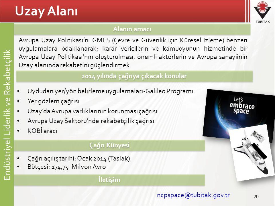 TÜBİTAK Uzay Alanı • Uydudan yer/yön belirleme uygulamaları-Galileo Programı • Yer gözlem çağrısı • Uzay'da Avrupa varlıklarının korunması çağrısı • A