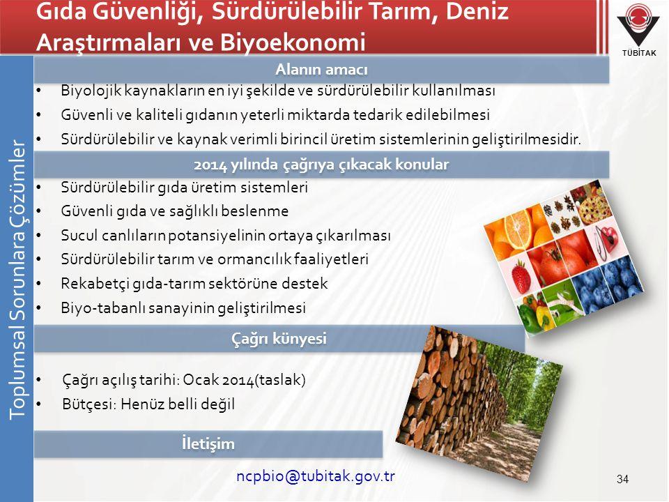 TÜBİTAK Gıda Güvenliği, Sürdürülebilir Tarım, Deniz Araştırmaları ve Biyoekonomi • Biyolojik kaynakların en iyi şekilde ve sürdürülebilir kullanılması