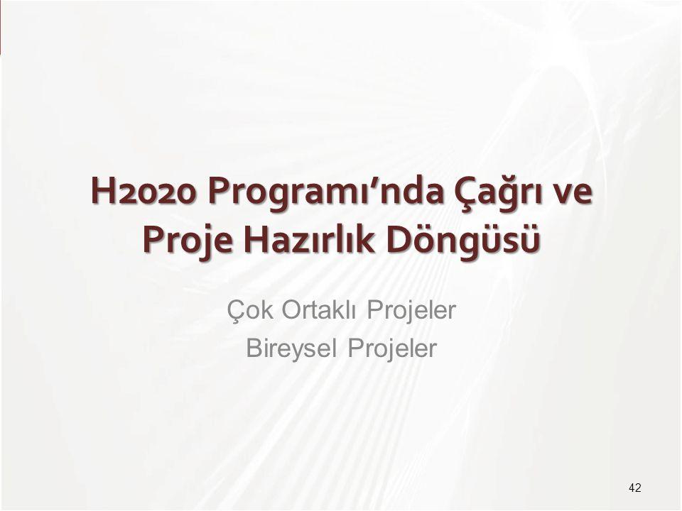 TÜBİTAK H2020 Programı'nda Çağrı ve Proje Hazırlık Döngüsü Çok Ortaklı Projeler Bireysel Projeler 42