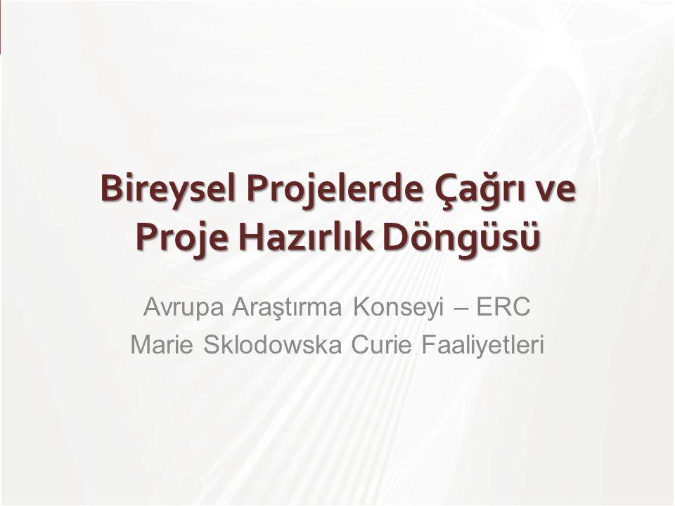 TÜBİTAK Bireysel Projelerde Çağrı ve Proje Hazırlık Döngüsü Avrupa Araştırma Konseyi – ERC Marie Sklodowska Curie Faaliyetleri