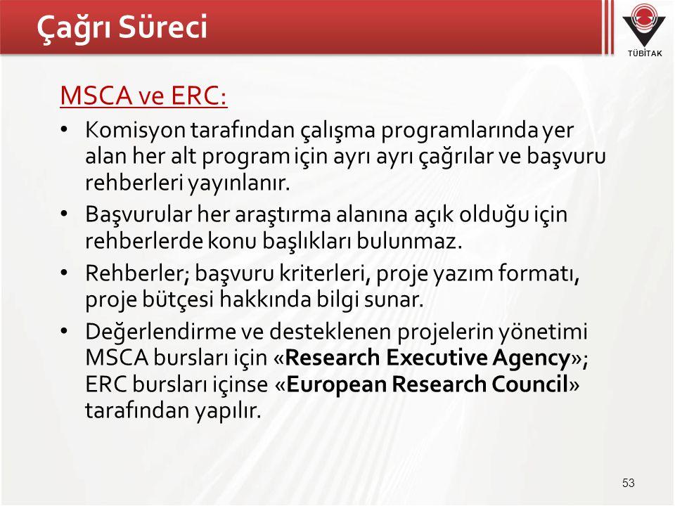 TÜBİTAK Çağrı Süreci MSCA ve ERC: • Komisyon tarafından çalışma programlarında yer alan her alt program için ayrı ayrı çağrılar ve başvuru rehberleri