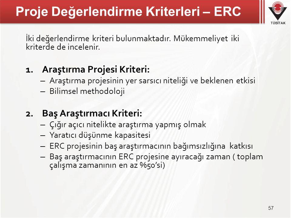 TÜBİTAK Proje Değerlendirme Kriterleri – ERC İki değerlendirme kriteri bulunmaktadır. Mükemmeliyet iki kriterde de incelenir. 1.Araştırma Projesi Krit