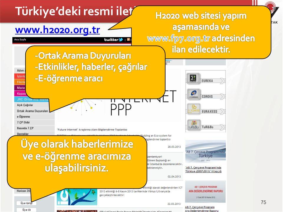 TÜBİTAK Türkiye'deki resmi iletişim kanalı www.h2020.org.tr 75