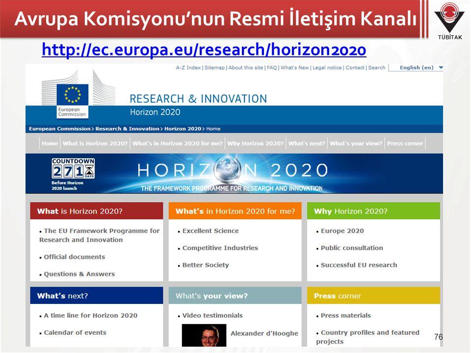 TÜBİTAK Avrupa Komisyonu'nun Resmi İletişim Kanalı http://ec.europa.eu/research/horizon2020 76