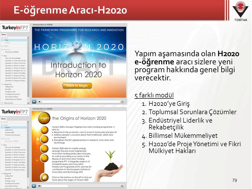 TÜBİTAK E-öğrenme Aracı-H2020 79 Yapım aşamasında olan H2020 e-öğrenme aracı sizlere yeni program hakkında genel bilgi verecektir. 5 farklı modül 1.H2