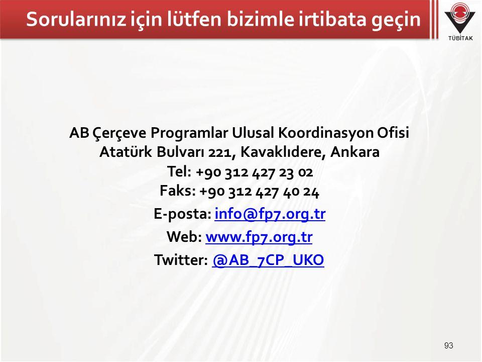 TÜBİTAK Sorularınız için lütfen bizimle irtibata geçin AB Çerçeve Programlar Ulusal Koordinasyon Ofisi Atatürk Bulvarı 221, Kavaklıdere, Ankara Tel: +