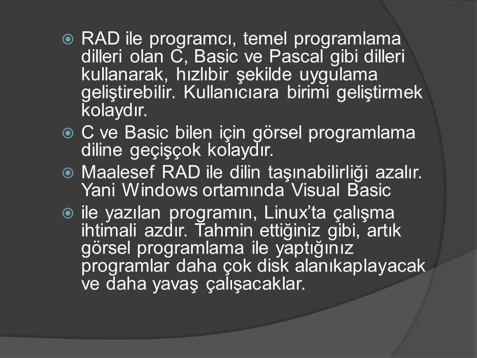  RAD ile programcı, temel programlama dilleri olan C, Basic ve Pascal gibi dilleri kullanarak, hızlıbir şekilde uygulama geliştirebilir. Kullanıcıara