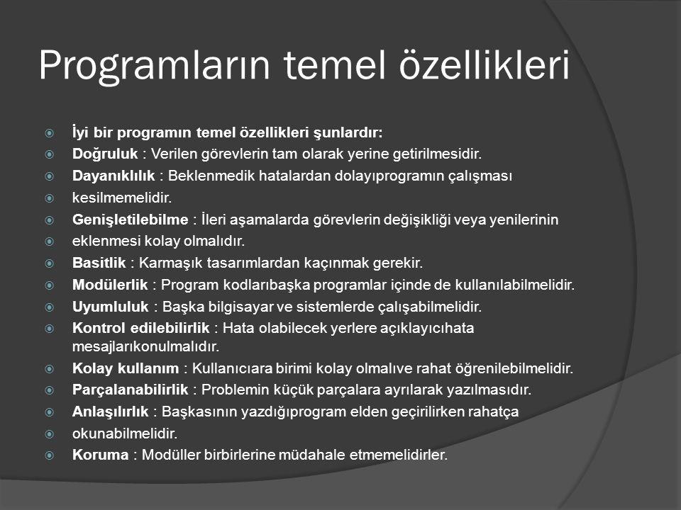 Programların temel özellikleri  İyi bir programın temel özellikleri şunlardır:  Doğruluk : Verilen görevlerin tam olarak yerine getirilmesidir.  Da