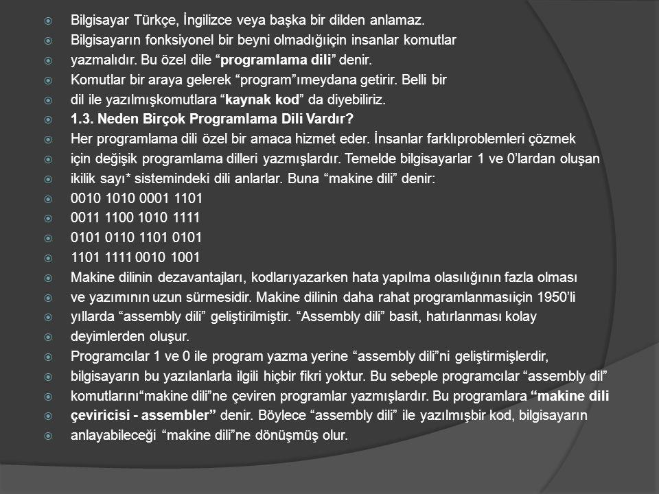  Bilgisayar Türkçe, İngilizce veya başka bir dilden anlamaz.  Bilgisayarın fonksiyonel bir beyni olmadığıiçin insanlar komutlar  yazmalıdır. Bu öze