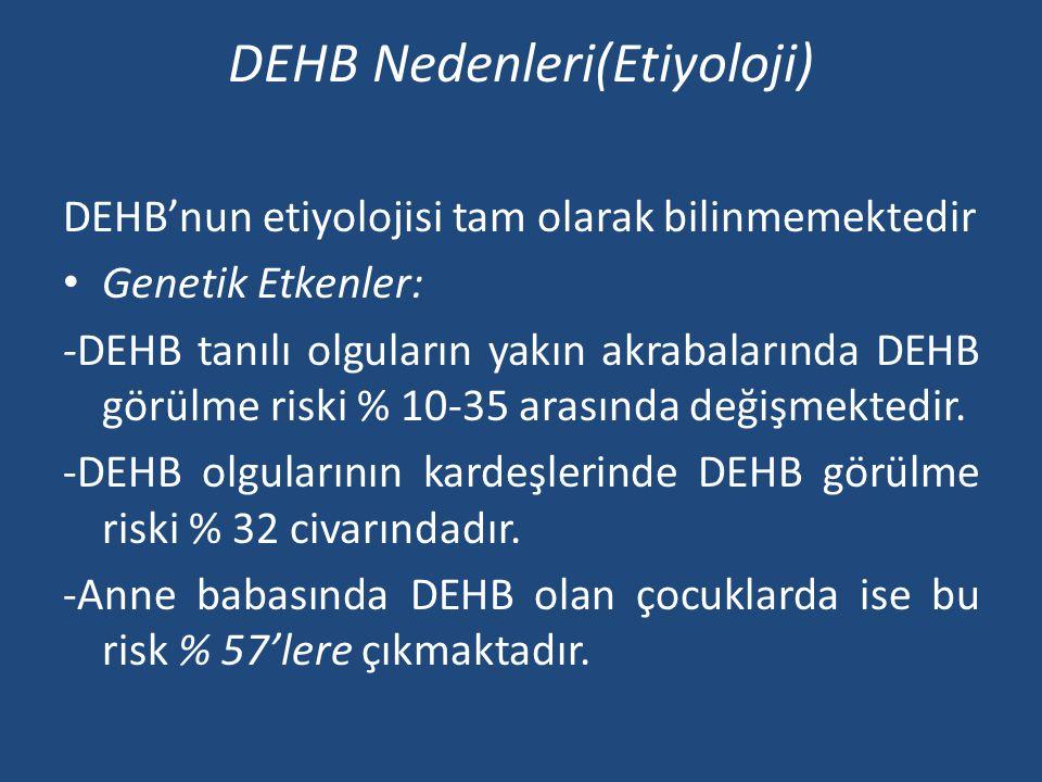 DEHB Nedenleri(Etiyoloji) DEHB'nun etiyolojisi tam olarak bilinmemektedir • Genetik Etkenler: -DEHB tanılı olguların yakın akrabalarında DEHB görülme riski % 10-35 arasında değişmektedir.