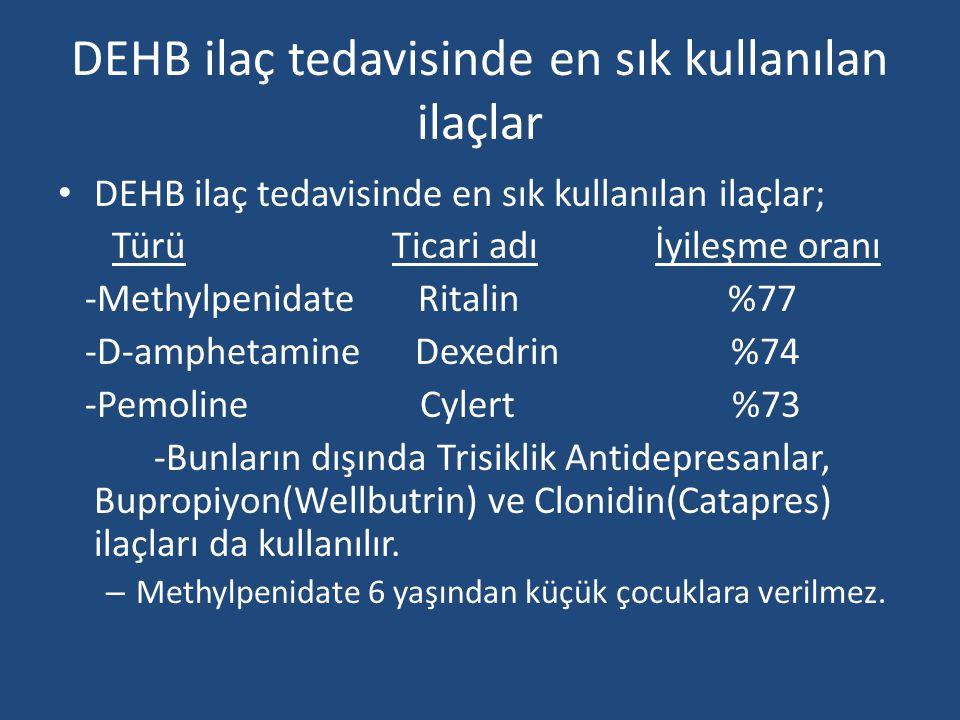 DEHB ilaç tedavisinde en sık kullanılan ilaçlar • DEHB ilaç tedavisinde en sık kullanılan ilaçlar; Türü Ticari adı İyileşme oranı -Methylpenidate Ritalin %77 -D-amphetamine Dexedrin %74 -Pemoline Cylert %73 -Bunların dışında Trisiklik Antidepresanlar, Bupropiyon(Wellbutrin) ve Clonidin(Catapres) ilaçları da kullanılır.