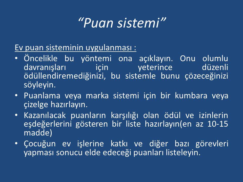 Puan sistemi Ev puan sisteminin uygulanması : • Öncelikle bu yöntemi ona açıklayın.