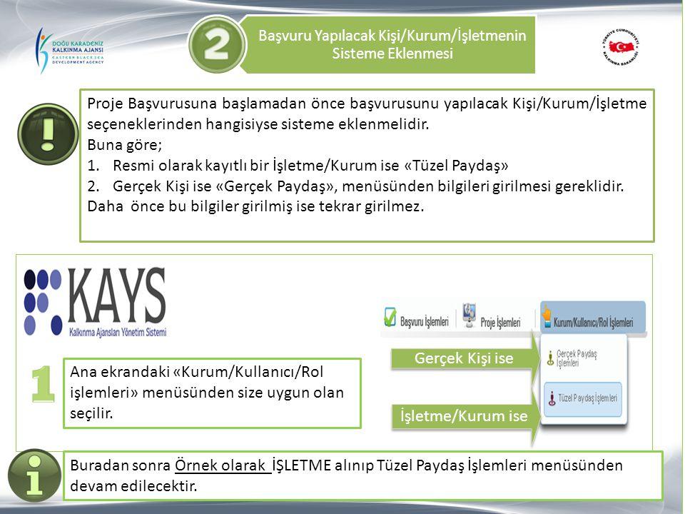 Başvuru Yapılacak Kişi/Kurum/İşletmenin Sisteme Eklenmesi Ana ekrandaki «Kurum/Kullanıcı/Rol işlemleri» menüsünden size uygun olan seçilir. İşletme/Ku