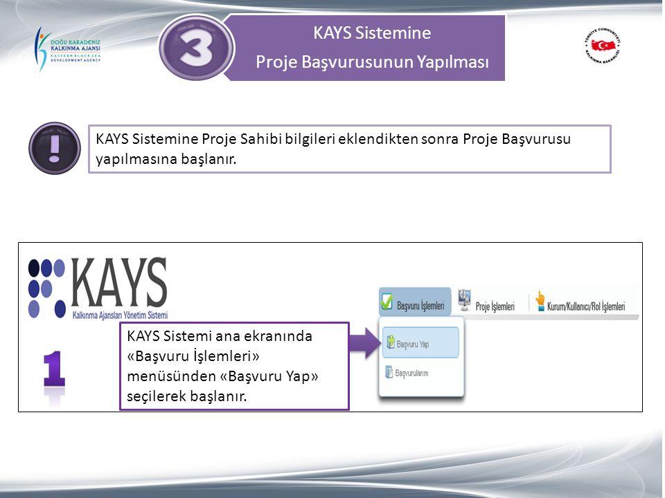 KAYS Sistemine Proje Başvurusunun Yapılması KAYS Sistemine Proje Sahibi bilgileri eklendikten sonra Proje Başvurusu yapılmasına başlanır. KAYS Sistemi