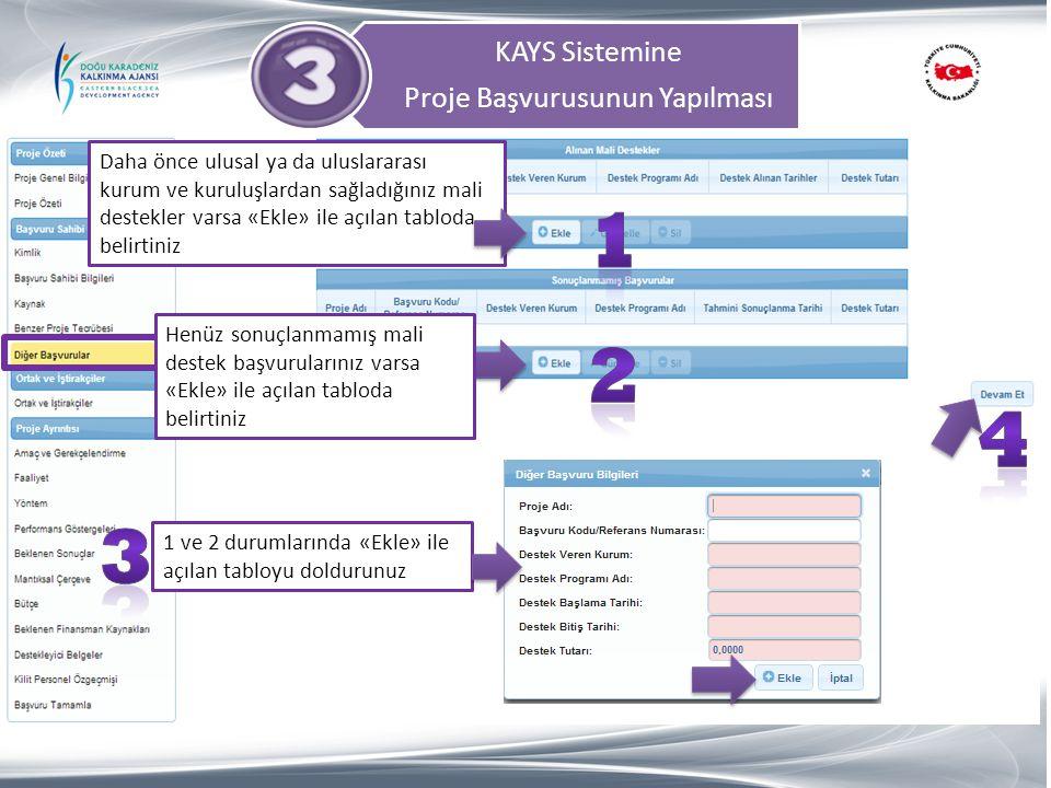 KAYS Sistemine Proje Başvurusunun Yapılması Daha önce ulusal ya da uluslararası kurum ve kuruluşlardan sağladığınız mali destekler varsa «Ekle» ile aç