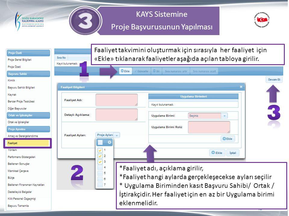 KAYS Sistemine Proje Başvurusunun Yapılması 45 Faaliyet takvimini oluşturmak için sırasıyla her faaliyet için «Ekle» tıklanarak faaliyetler aşağıda aç