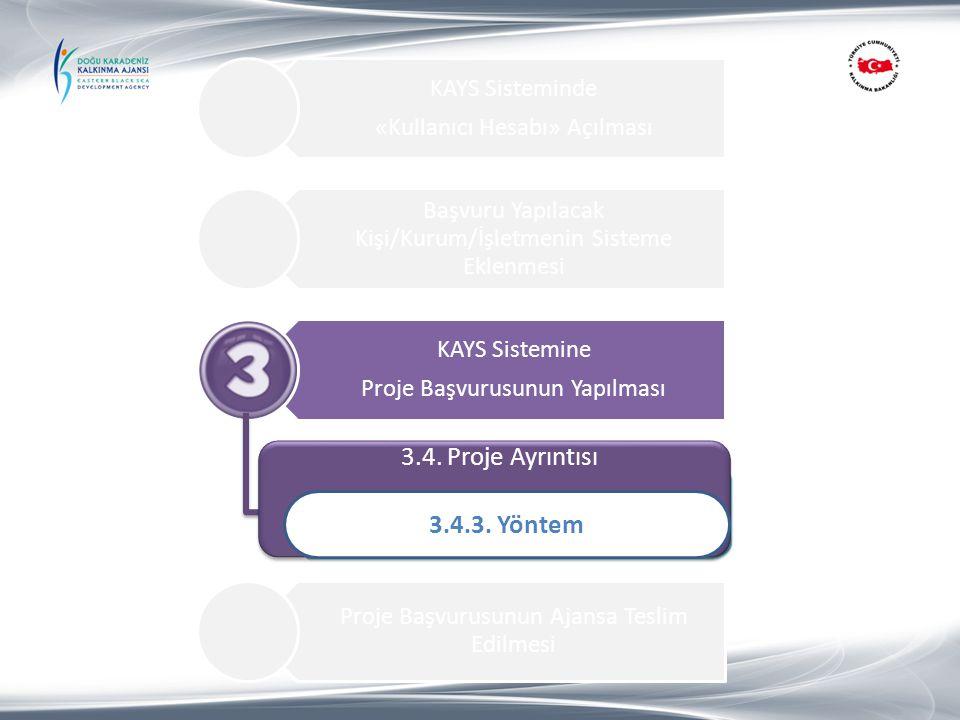 KAYS Sisteminde «Kullanıcı Hesabı» Açılması Başvuru Yapılacak Kişi/Kurum/İşletmenin Sisteme Eklenmesi KAYS Sistemine Proje Başvurusunun Yapılması 1.Pr