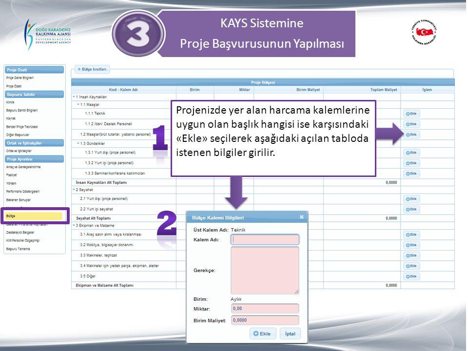 KAYS Sistemine Proje Başvurusunun Yapılması Projenizde yer alan harcama kalemlerine uygun olan başlık hangisi ise karşısındaki «Ekle» seçilerek aşağıd