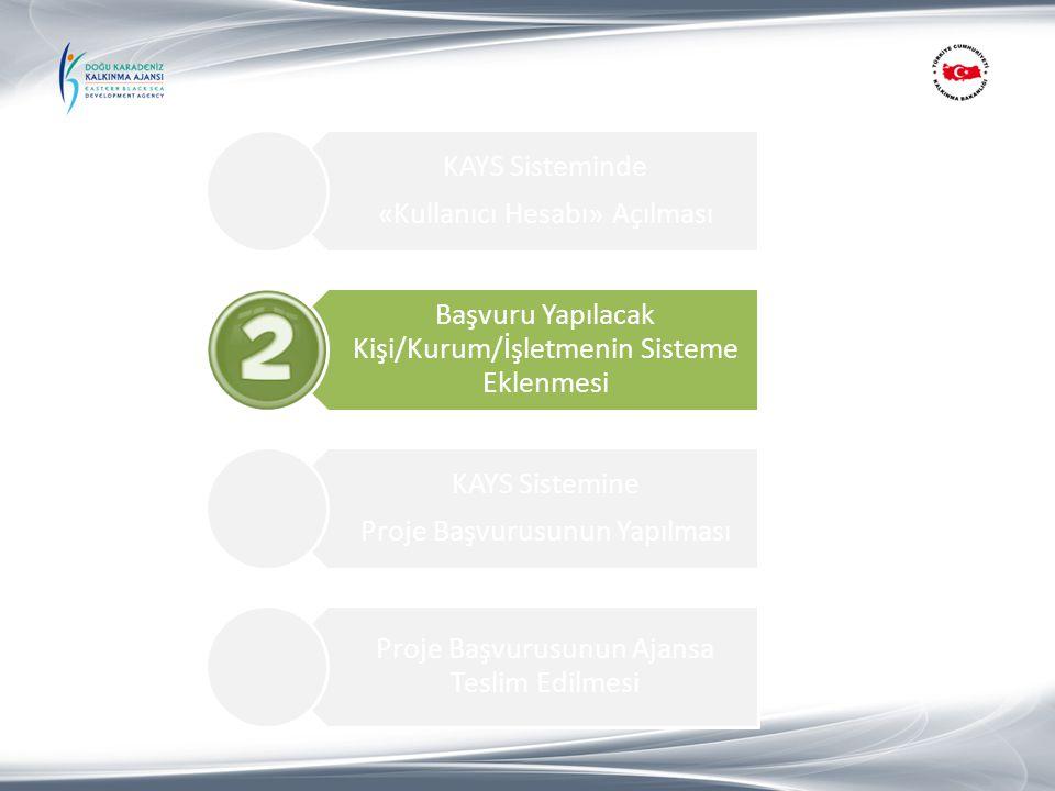 KAYS Sisteminde «Kullanıcı Hesabı» Açılması Başvuru Yapılacak Kişi/Kurum/İşletmenin Sisteme Eklenmesi KAYS Sistemine Proje Başvurusunun Yapılması 1.Proje Özeti Proje Başvurusunun Ajansa Teslim Edilmesi 3.2.Başvuru Sahibi 3.2.3.