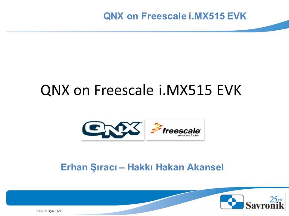 KURULUŞA ÖZEL GİRİŞ QNX on Freescale i.MX515 EVK Hardware (i.MX 515) OS (QNX) Application (Qt)  hardware  operating systems  application platform  I/O Devices