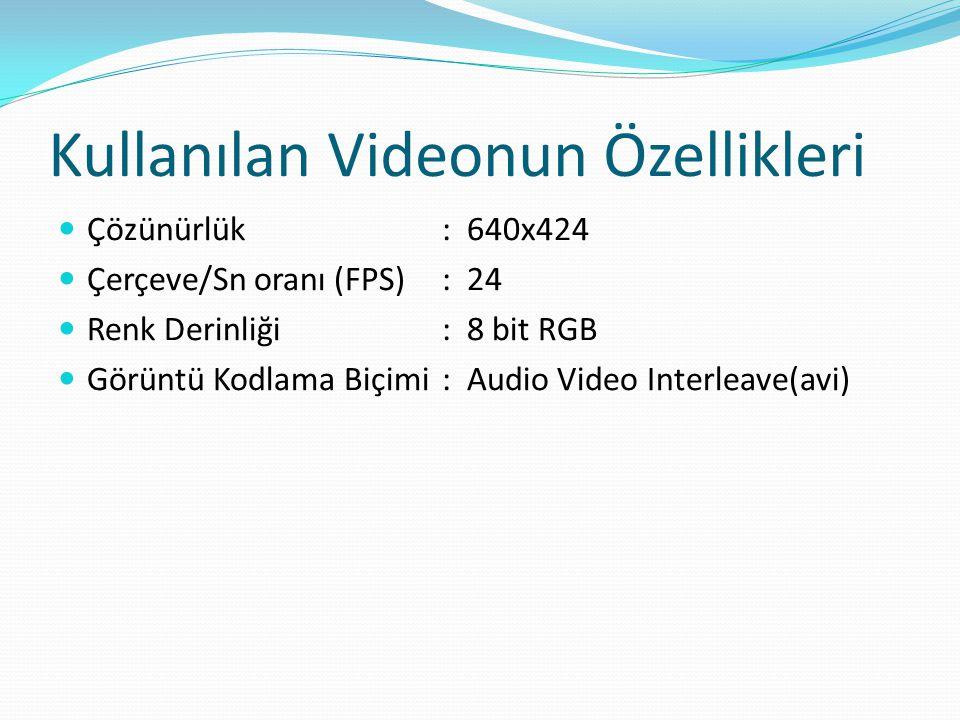 Kullanılan Videonun Özellikleri  Çözünürlük: 640x424  Çerçeve/Sn oranı (FPS): 24  Renk Derinliği: 8 bit RGB  Görüntü Kodlama Biçimi: Audio Video I