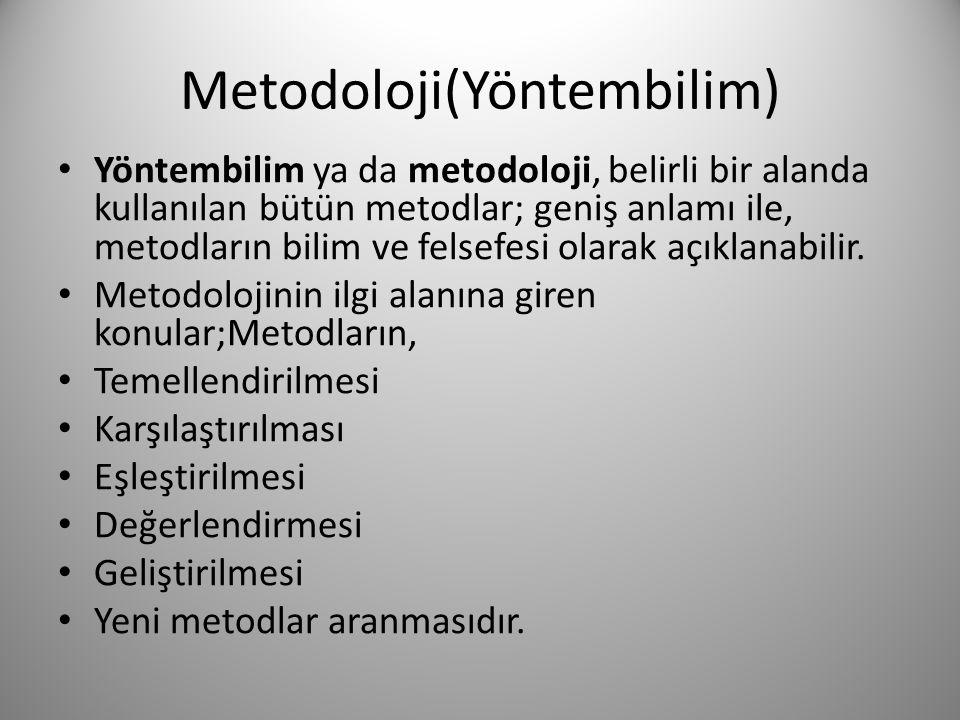 Metodoloji(Yöntembilim) • Yöntembilim ya da metodoloji, belirli bir alanda kullanılan bütün metodlar; geniş anlamı ile, metodların bilim ve felsefesi