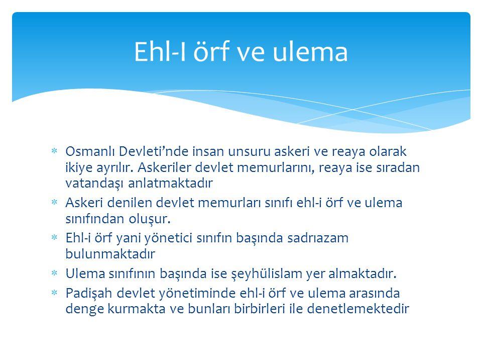  Osmanlı Devleti'nde insan unsuru askeri ve reaya olarak ikiye ayrılır.