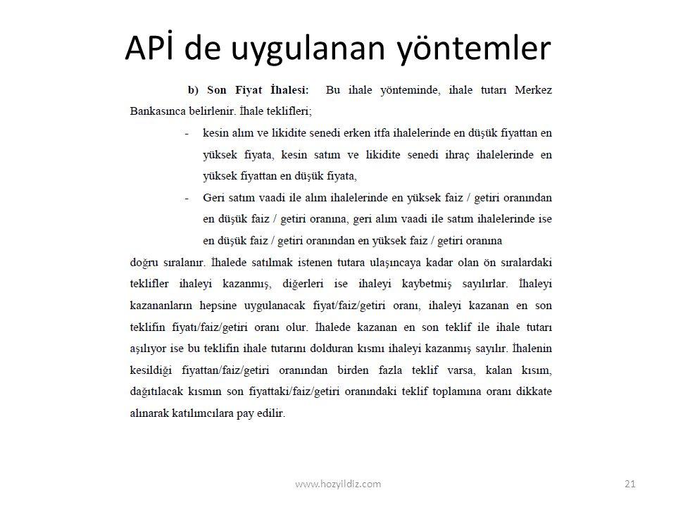 APİ de uygulanan yöntemler www.hozyildiz.com21