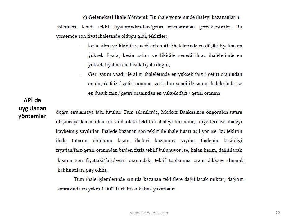 APİ de uygulanan yöntemler www.hozyildiz.com22
