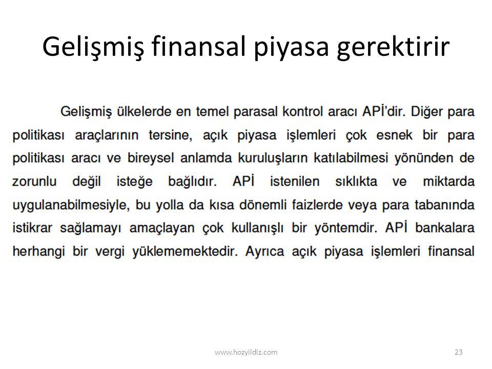 Gelişmiş finansal piyasa gerektirir www.hozyildiz.com23