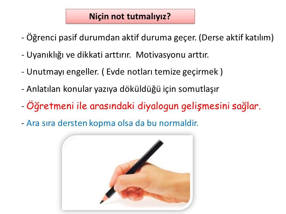 • Önemli gördüğün yeri hemen not al. Sonra yazarım diyince unuturuz.