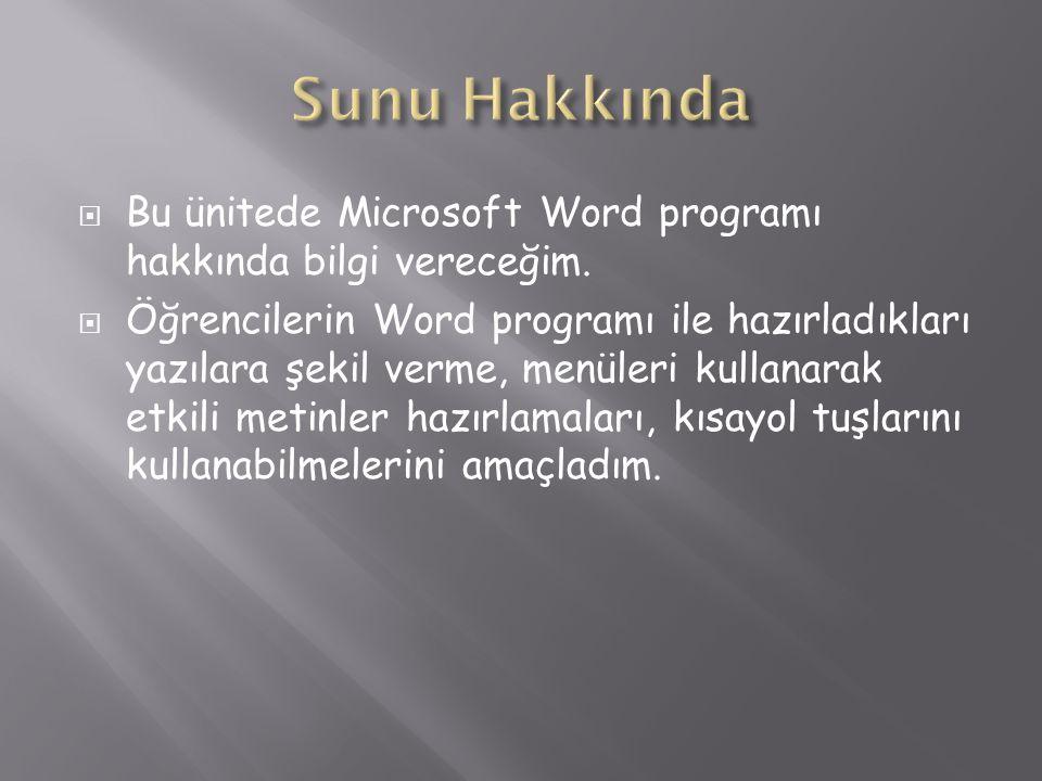  Bu ünitede Microsoft Word programı hakkında bilgi vereceğim.  Öğrencilerin Word programı ile hazırladıkları yazılara şekil verme, menüleri kullanar