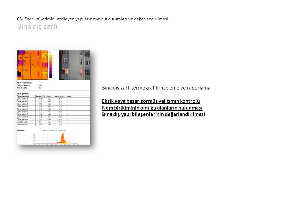 03- Enerji tüketimini etkileyen yapıların mevcut durumlarının değerlendirilmesi Bina dış zarfı Bina dış zarfı termografik inceleme ve raporlama Eksik