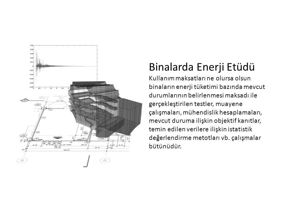 Binalarda Enerji Etüdü Kullanım maksatları ne olursa olsun binaların enerji tüketimi bazında mevcut durumlarının belirlenmesi maksadı ile gerçekleştir