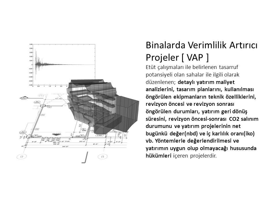 Binalarda Verimlilik Artırıcı Projeler [ VAP ] Etüt çalışmaları ile belirlenen tasarruf potansiyeli olan sahalar ile ilgili olarak düzenlenen; detaylı