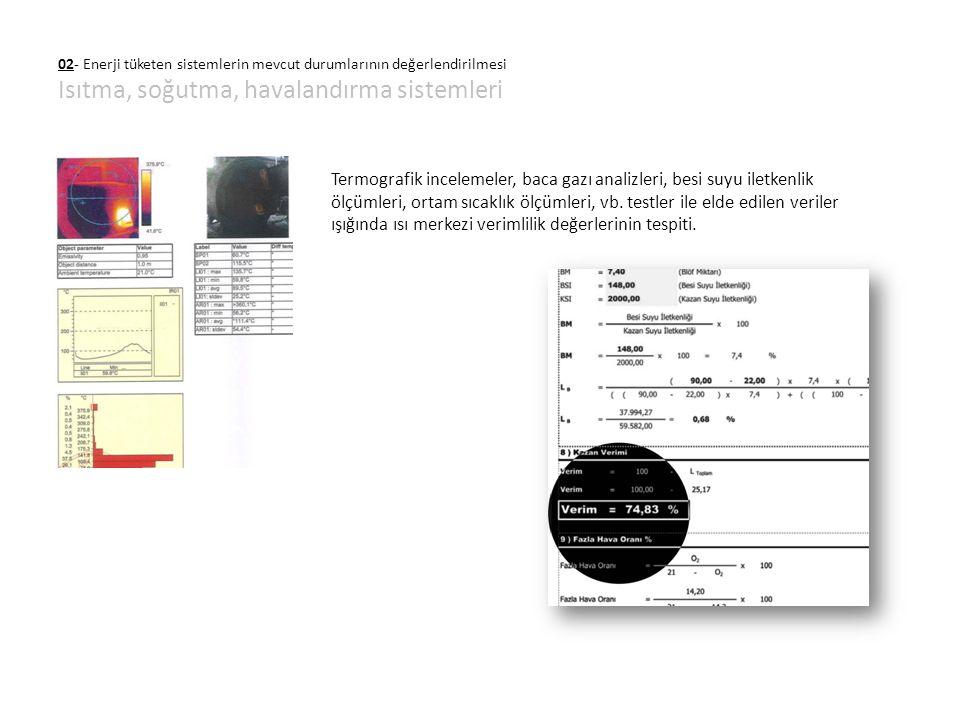 02- Enerji tüketen sistemlerin mevcut durumlarının değerlendirilmesi Isıtma, soğutma, havalandırma sistemleri Termografik incelemeler, baca gazı anali