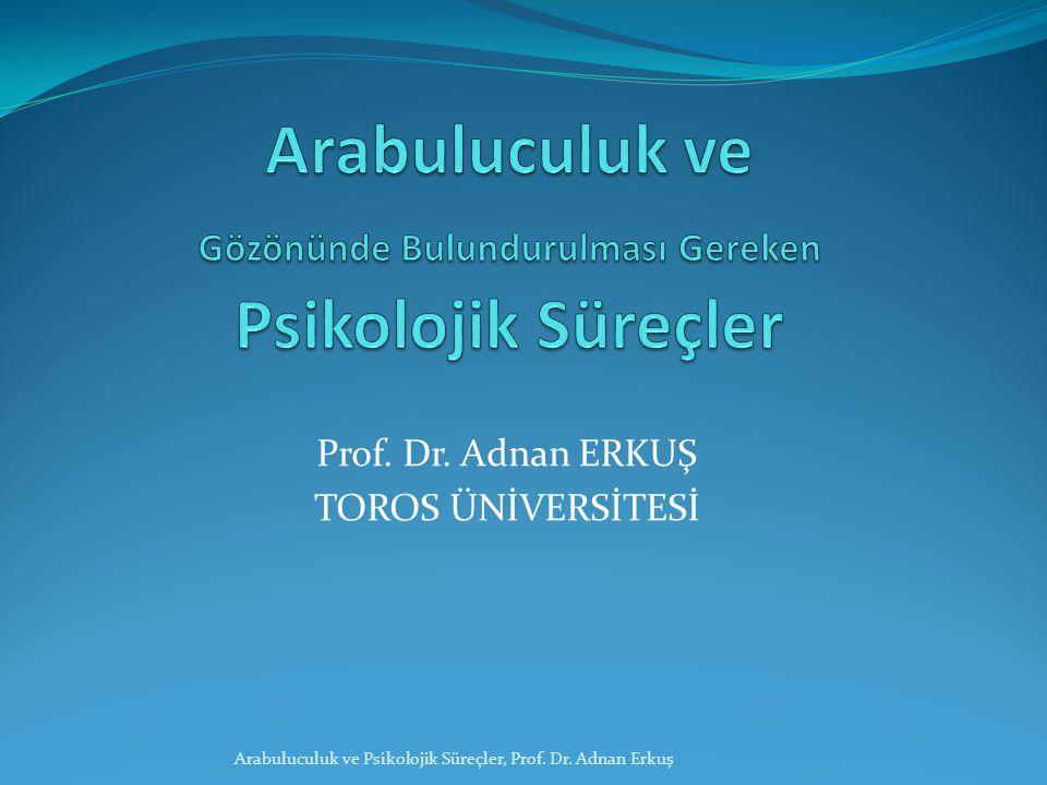 Prof. Dr. Adnan ERKUŞ TOROS ÜNİVERSİTESİ Arabuluculuk ve Psikolojik Süreçler, Prof. Dr. Adnan Erkuş