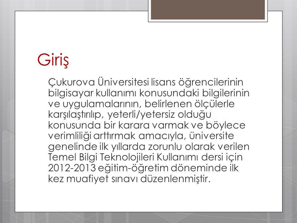 Giriş Çukurova Üniversitesi lisans öğrencilerinin bilgisayar kullanımı konusundaki bilgilerinin ve uygulamalarının, belirlenen ölçülerle karşılaştırıl