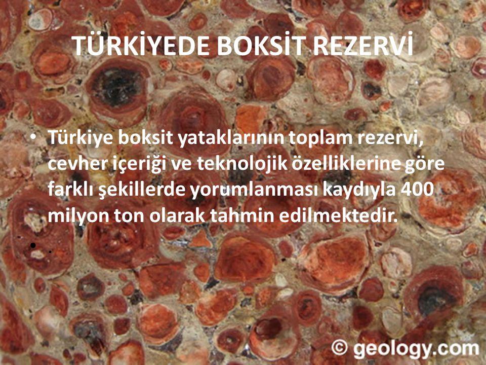 TÜRKİYEDE BOKSİT REZERVİ • Türkiye boksit yataklarının toplam rezervi, cevher içeriği ve teknolojik özelliklerine göre farklı şekillerde yorumlanması
