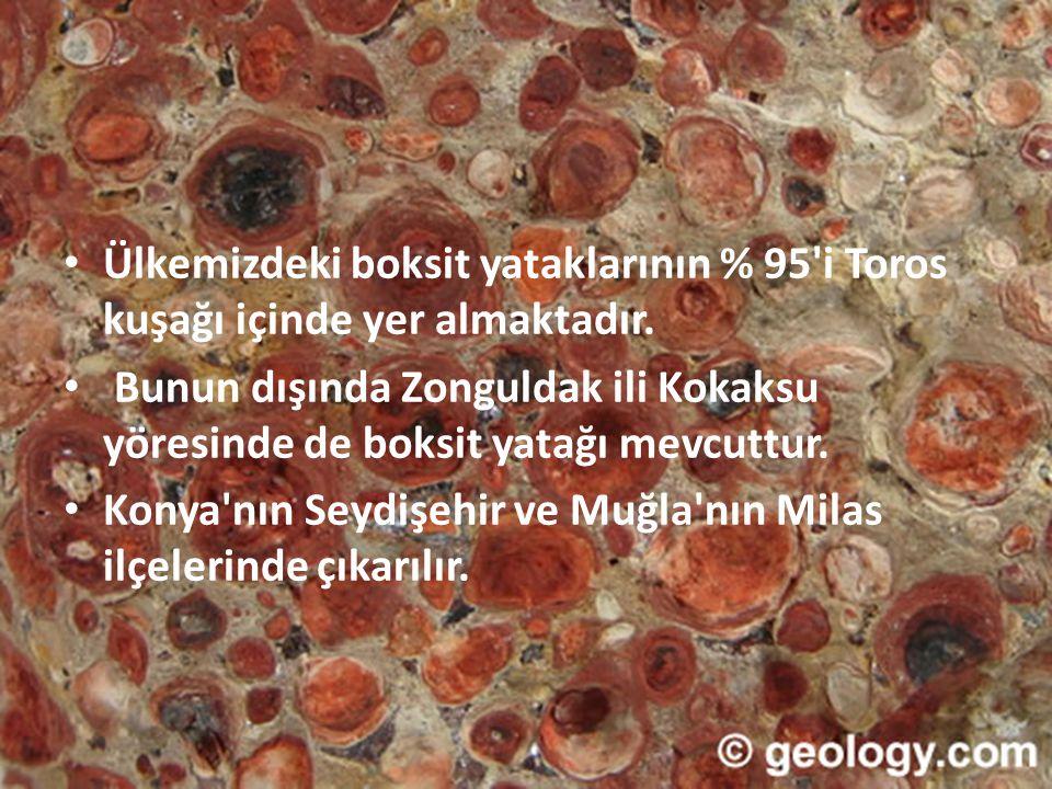 • Ülkemizdeki boksit yataklarının % 95'i Toros kuşağı içinde yer almaktadır. • Bunun dışında Zonguldak ili Kokaksu yöresinde de boksit yatağı mevcuttu