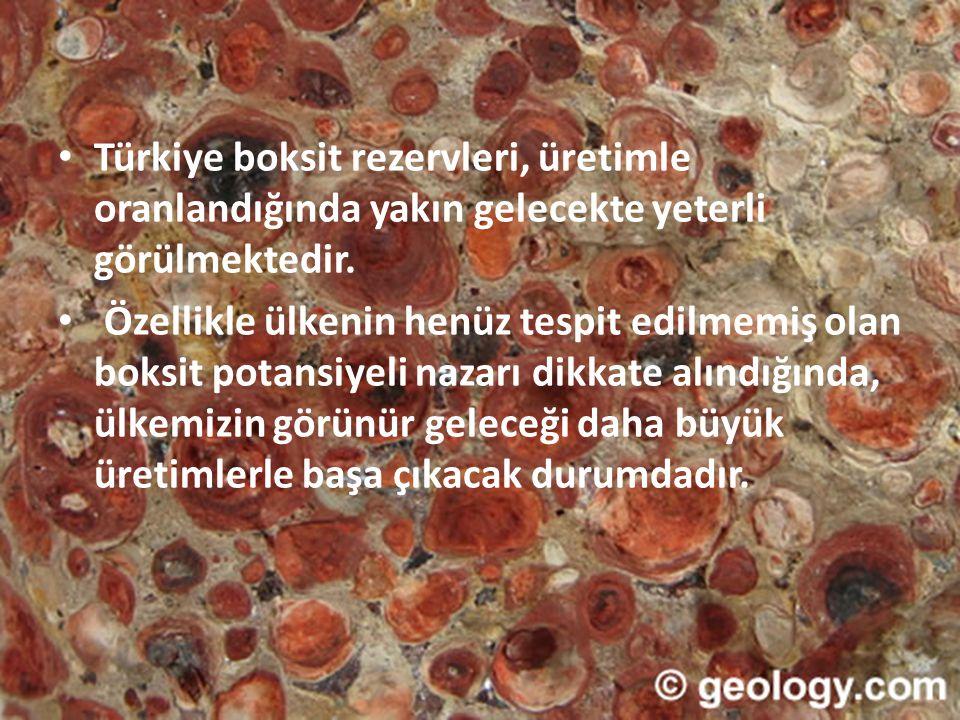 • Türkiye boksit rezervleri, üretimle oranlandığında yakın gelecekte yeterli görülmektedir. • Özellikle ülkenin henüz tespit edilmemiş olan boksit pot
