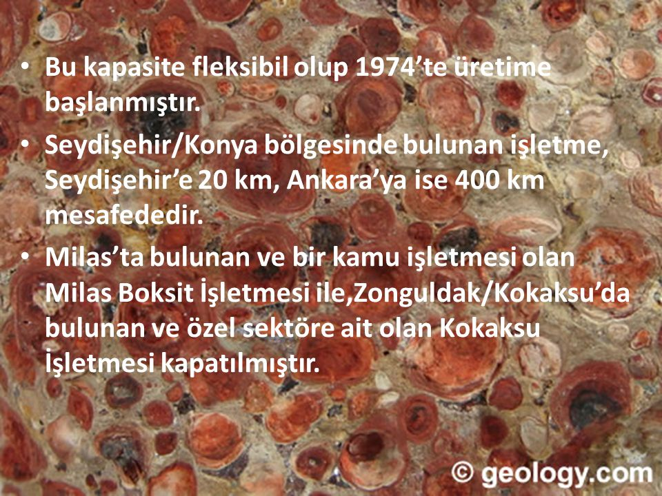 • Bu kapasite fleksibil olup 1974'te üretime başlanmıştır. • Seydişehir/Konya bölgesinde bulunan işletme, Seydişehir'e 20 km, Ankara'ya ise 400 km mes