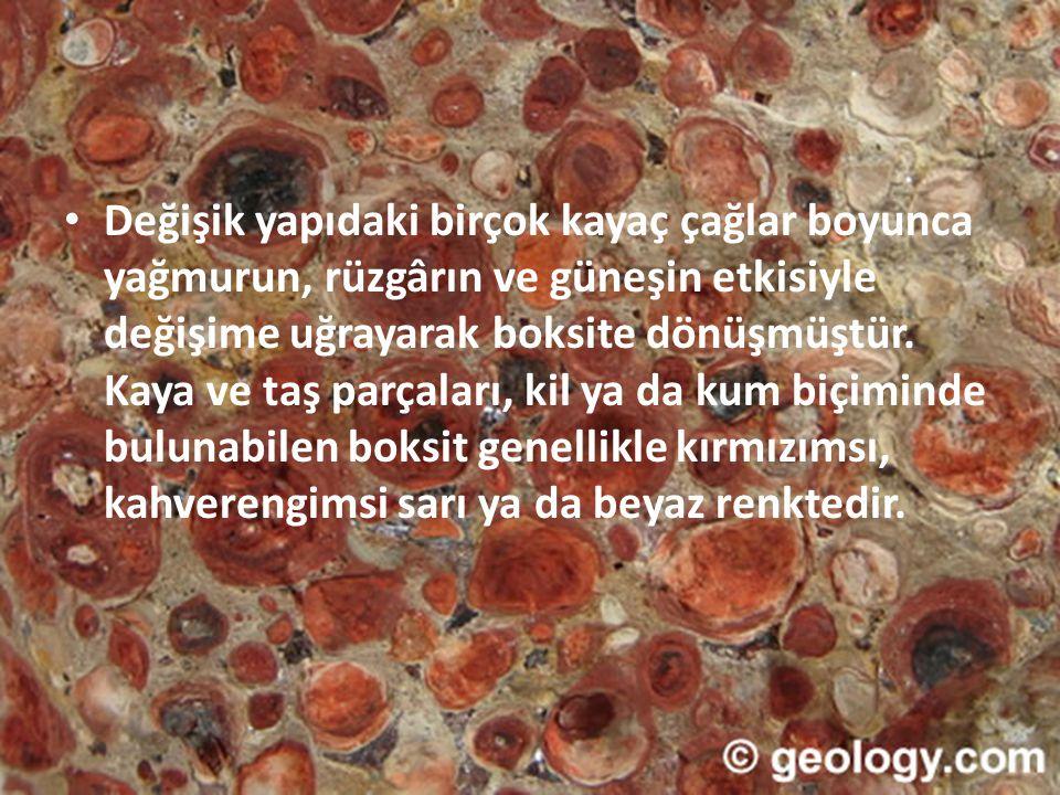 TÜRKİYE'DEKİ TÜKETİM ALANLARI • Günümüz itibariyle Türkiye de üretilen boksitin büyük bir bölümü Etibank Seydişehir Alüminyum İşletmesi Müessesesi Tesislerinde kullanılmaktadır.