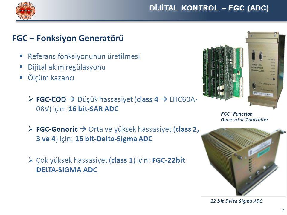Class 1-2 - Yüksek Hassasiyet: 4-13kA DCCT  Harici sensör (manyetik kısım) ve elektronik devre  Beş farklı nominal akım değeri (4kA, 5kA, 6kA, 7kA, 13kA)  Her sensörde bir kalibrasyon sargısı bulunur: kalibrasyon, bu sargıya referans akımı uygulanarak yapılır 4..13kA DCCT Akım Sensörü 4..13kA DCCT Elektronik ölçüm devresi Class 3 - Orta Hassasiyet: 600A DCCT  Harici sensör (manyetik kısım) ve elektronik devre  Elektronik ölçüm devresi FGC şasesinde yer alır  Özel bir kalibrasyon şasesi kullanılarak her sensörün kalibrasyonu lokal olarak yapılır Class 4 - Düşük Hassasiyet: 120A DCCT  Cihaza entegre sensör ve elektronik devre  Başlangıç kalibrasyonu lokal olarak bir referans sensörü (DCCT) kullanılarak yapılır 120A Ritz DCCT 120A Hitec DCCT 600A DCCT Elektronik ölçüm devresi 600A DCCT Akım Sensörü AKIM SENSÖRÜ –DCCT 8