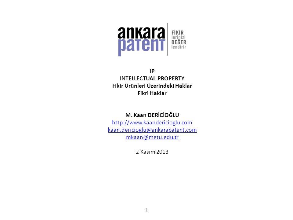 FİKİR ÜRÜNÜKoruma Süreleri ESEREser sahibinin yaşadığı süre + 70 yıl [x] BAĞLANTILI HAK70 yıl BULUŞ İncelemeli patent: 20 yıl (her yıl yenileme gerekli) İncelemesiz patent: 7 yıl (her yıl yenileme gerekli) Faydalı model belgesi: 10 yıl (her yıl yenileme gerekli) ENDÜSTRİYEL TASARIM Tasarım tescili: 5x5 yıl Eser: eser sahibinin yaşadığı süre + 70 yıl Marka tescili: yenilenebilir 10 yıl Haksız rekabet: süre yok MARKAYenilenebilir 10 yıl [ [x] ] WIPO, ölümden sonraki bu süreyi 50 yıl olarak önermekte ve bazı ülkelerde bu öneri uygulanmaktadır.