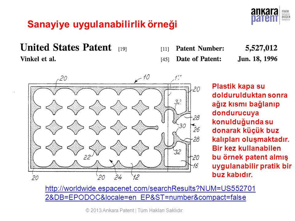 http://worldwide.espacenet.com/searchResults?NUM=US552701 2&DB=EPODOC&locale=en_EP&ST=number&compact=false Sanayiye uygulanabilirlik örneği © 2013 Ank