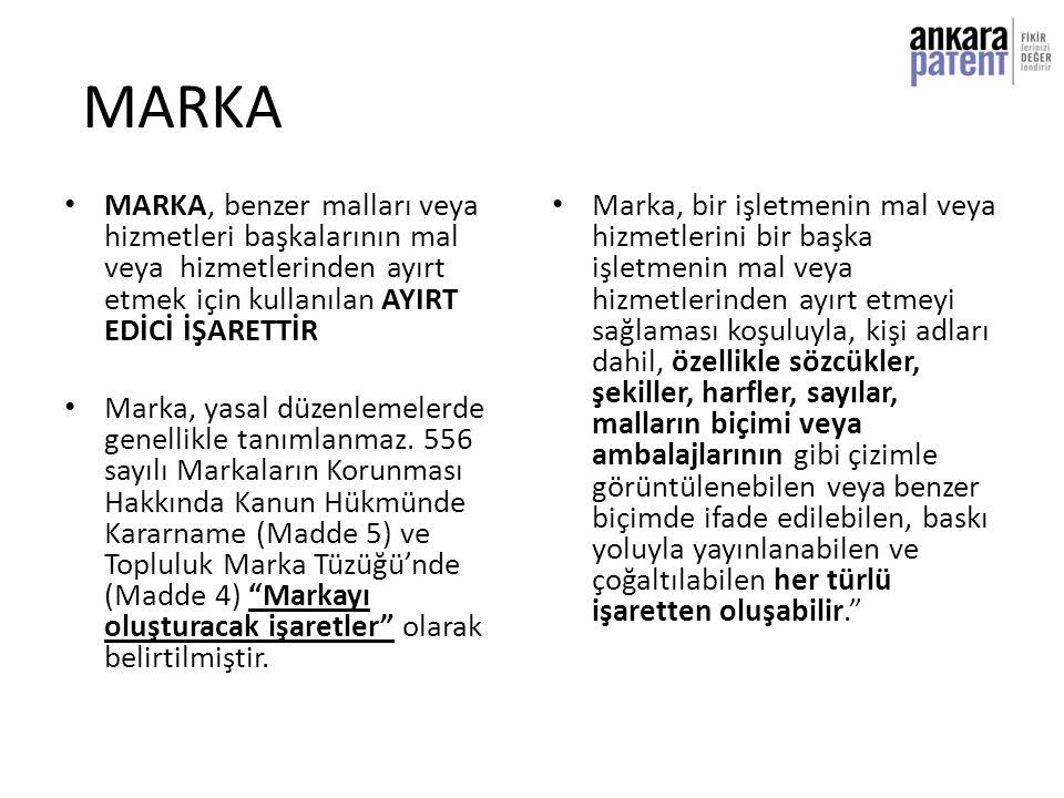 MARKA • MARKA, benzer malları veya hizmetleri başkalarının mal veya hizmetlerinden ayırt etmek için kullanılan AYIRT EDİCİ İŞARETTİR • Marka, yasal dü