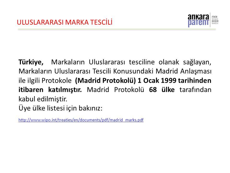 ULUSLARARASI MARKA TESCİLİ Türkiye, Markaların Uluslararası tesciline olanak sağlayan, Markaların Uluslararası Tescili Konusundaki Madrid Anlaşması il
